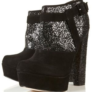 Topshop Astrid glitter & suede ankle boots
